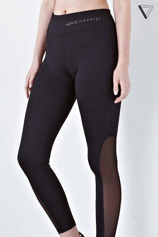 Twenty3 - Roxanna High Waist Side Mesh Panel Leggings in Black -  - Sports Pants - 1