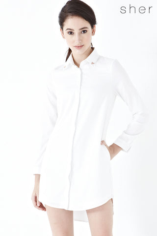 Larainne Shirt Dress in White - Dresses - Twenty3