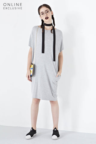 Addie Oversized T-Shirt Dress in Light Grey - Dresses - Twenty3