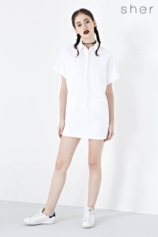 Jeanette Shirt Dress in White - Dresses - Twenty3