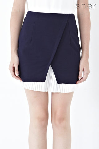 Lily Pleated Hemline Pencil Skirt in Navy Blue - Bottoms - Twenty3