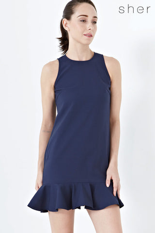Twenty3 - 2-Way Daisy Fluted Hem Shift Dress in Navy Blue -  - Dresses - 1