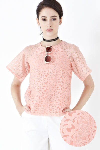 Misty Printed Organza Top in Salmon Pink - Top - Twenty3