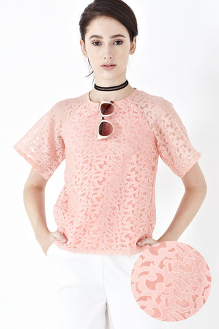 Twenty3 - Misty Printed Organza Top in Salmon Pink -  - Top - 1