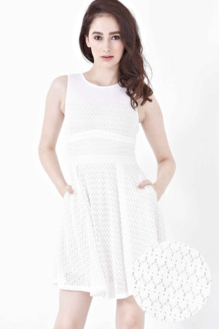 Livie Lace Overlay Skater Dress in White - Dresses - Twenty3