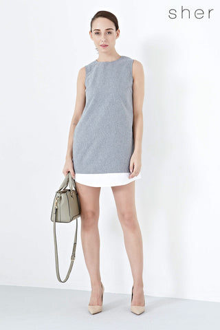 Twenty3 - Louisa Contrast Hem Shift Dress in Grey -  - Dresses - 1