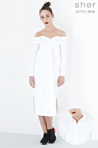Twenty3 - Caia Two Way Midi Shirt Dress in White -  - Dresses - 1