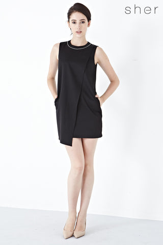 Twenty3 - Dorsa Asymmetrical Shift Dress in Black -  - Dresses - 1