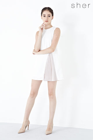Mathilda Pleated Panel Shift Dress in White - Dresses - Twenty3