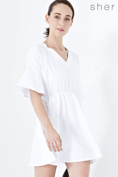 Twenty3 - Elsie Flute Sleeves Peasant Dress in White -  - Dresses - 1