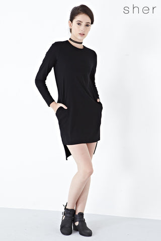 Twenty3 - Vika High Low Hemline Sweater Dress in Black -  - Dresses - 1