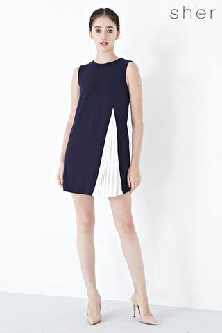 Twenty3 - Mathilda Pleated Panel Shift Dress in Navy Blue -  - Dresses - 1