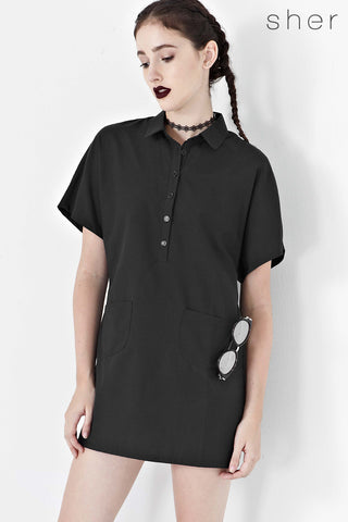 Twenty3 - Jeanette Shirt Dress in Black -  - Dresses - 1