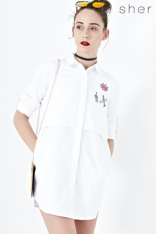 Evita Shirt Dress with Patches in White