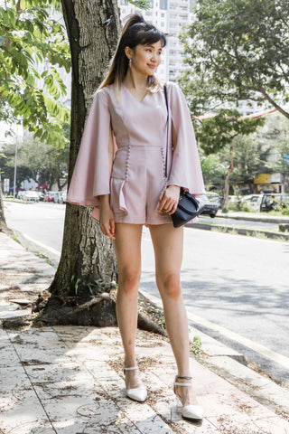 Adelphie Romper with Cape sleeves in Dusty Pink