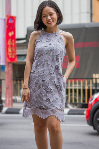 Claire Lace Overlay Dress in Pastel Lilac