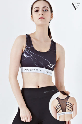 Twenty3 - Iona Mesh Back Sports Bra in Dark Grey Prints -  - Sports Bra - 1