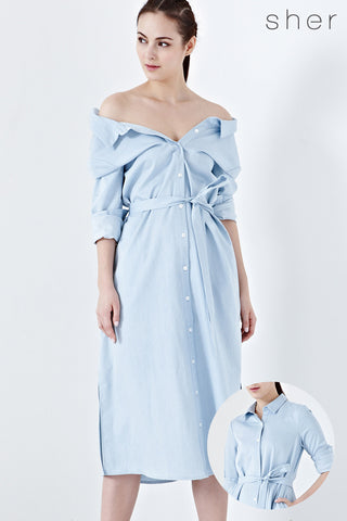 Twenty3 - Caia Two Way Midi Shirt Dress in Denim -  - Dresses - 1