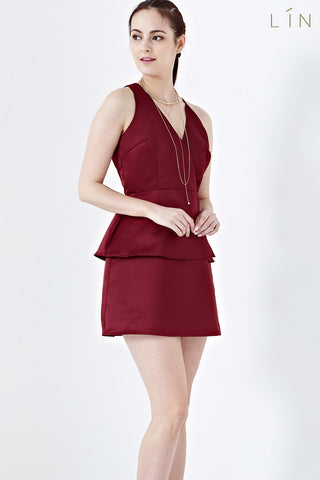 Twenty3 - Adelise Backless Mini Dress in Burgundy -  - Dresses - 1