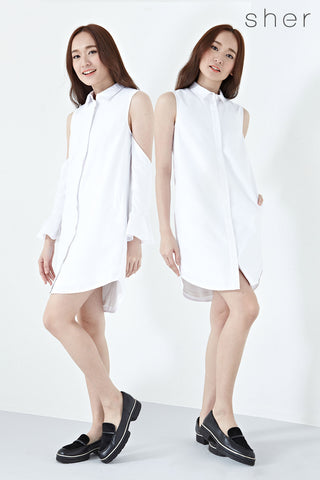 Twenty3 - Eidth Detachable Sleeves Multiway Shift Dress in White -  - Dresses - 1