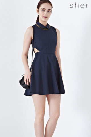 Twenty3 - Catelyn Cutout Skater Dress in Navy Blue -  - Dresses - 1