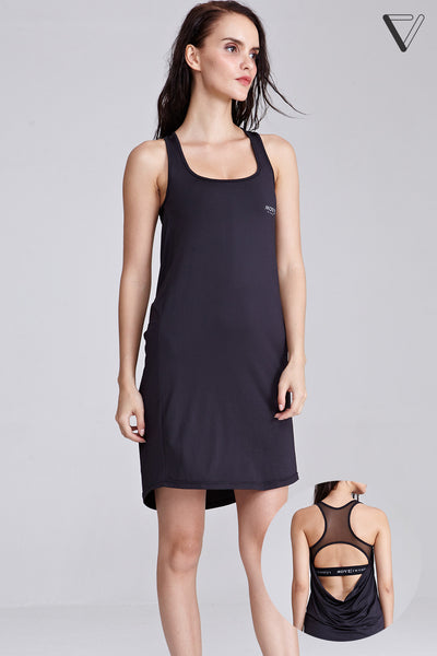 Bellatrix Shift Dress with built-in Sports Bra in Black
