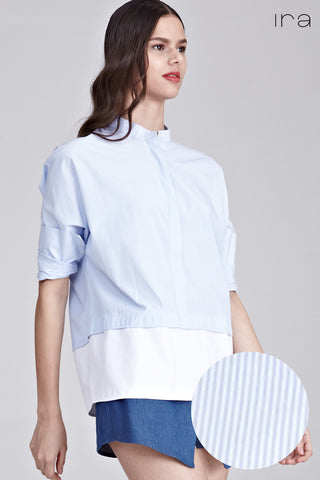 Medini Colour Block Long Sleeve Top in Blue Stripes and White