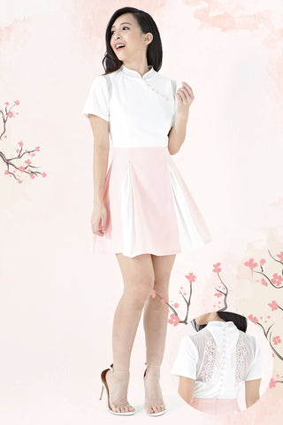 Twenty3 - Taelyn Mandarin Collar Skater Dress in Pink -  - Dresses - 1
