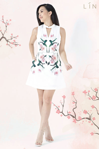 Twenty3 - Elysia Mandarin Collar Dress in Placement Mirror Floral -  - Dresses - 1
