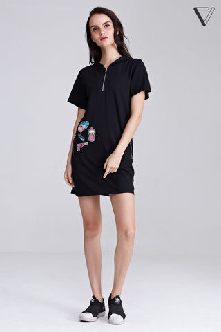 Theola Hoodie Shift Dress with Patches in Black