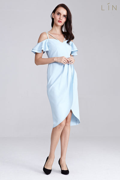 Colcy Cold Shoulder Sleeves Dress in Light Blue