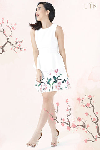 Twenty3 - Elspeth Peplum Dress in Placement Mirror Floral -  - Dresses - 1