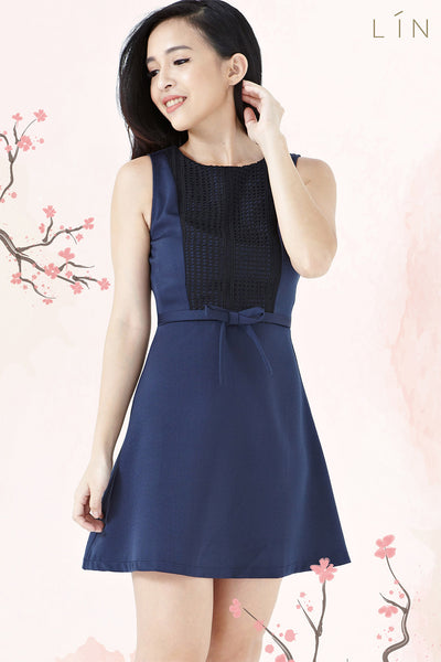Twenty3 - Viviana Lace Panel Sheath Dress in Navy Blue -  - Dresses - 1