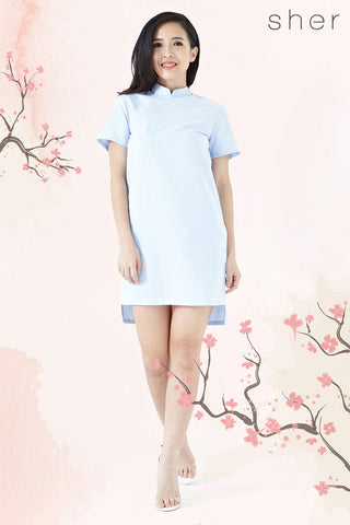 Twenty3 - Jordyn Drape Back Shift Dress in Light Blue -  - Dresses - 1