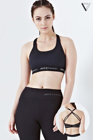 Twenty3 - Isolde Cross Back Sports Bra in Black -  - Sports Bra - 1