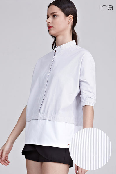 Medini Colour Block Long Sleeve Top in Grey Stripes and White