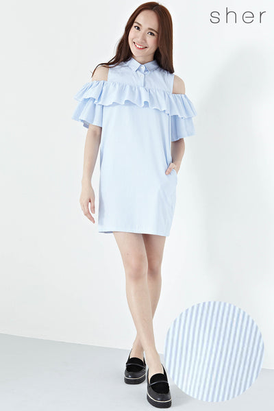 Twenty3 - Romilda Ruffle Cold Shoulder Shift Dress in Pinstripes -  - Dresses - 1