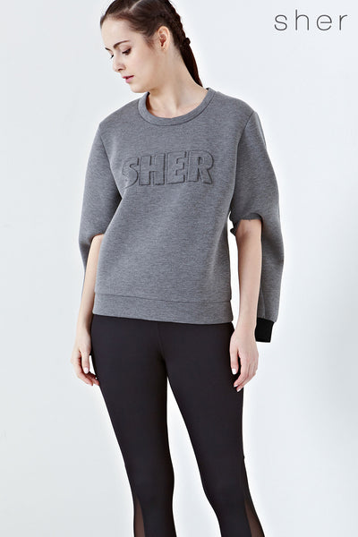 Proteus Two-Way Embossed Jumper in Grey