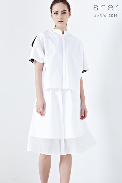 Thales Contrast Panel Oversized Top in White - Tops - Twenty3