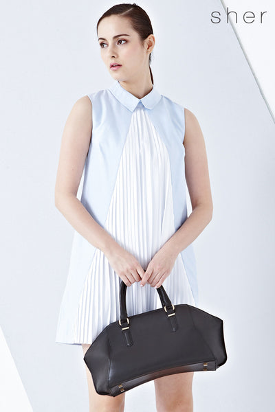 Aster Pleat Front Shift Dress in Light Blue