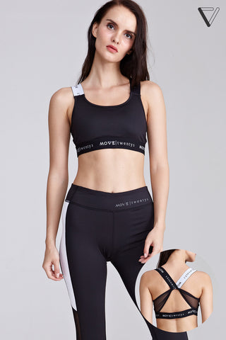 Maxime Cross Back Sports Bra in Black