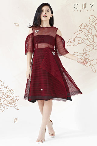 Twenty3 - Azalea Cold Shoulder Midi Skater Dress in Burgundy -  - Dresses - 1
