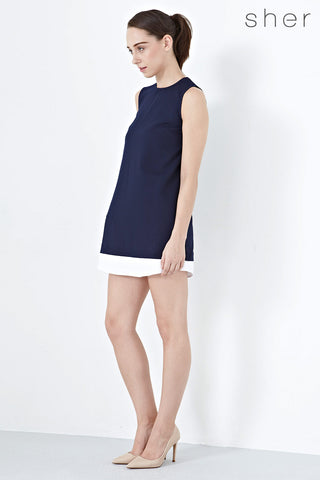 Twenty3 - Louisa Contrast Hem Shift Dress in Navy Blue -  - Dresses - 1