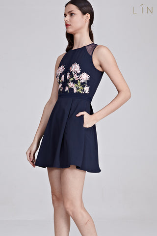 Benitoite Panel Skater Dress with Floral Embroidery in Navy Blue - Dresses - Twenty3