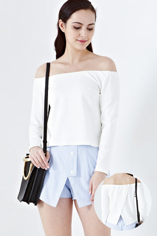Twenty3 - Aby Open Back Off Shoulder Top in White -  - Tops - 1