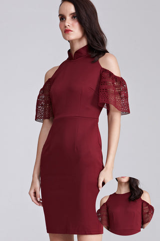 Portia Cold Shoulder Bodycon Cheongsam in Burgundy