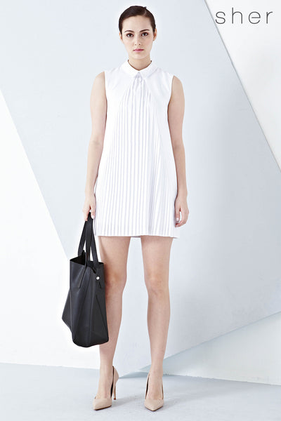 Aster Pleat Front Shift Dress in White - Dresses - Twenty3