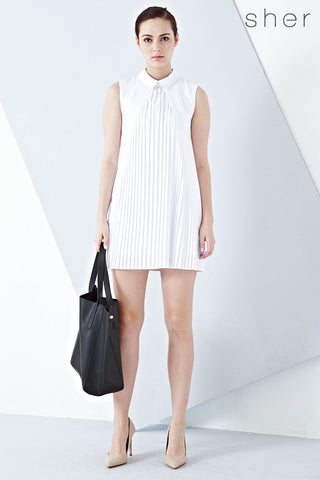 Aster Pleat Front Shift Dress in White