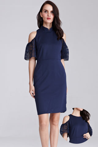 Portia Cold Shoulder Bodycon Cheongsam in Navy Blue