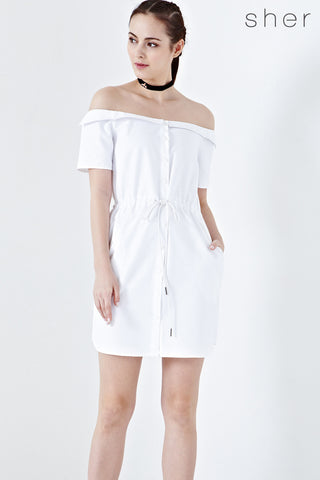 Twenty3 - Rowline Off-Shoulder Drawstring Dress in White -  - Dresses - 1